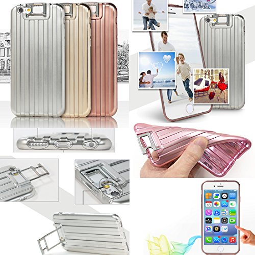 "MOONCASE iPhone 6S Plus Coque, Valise Design Etui Silicone Gel TPU Case pour iPhone 6 Plus / 6S Plus 5.5"" Housse Absorbant Chocs Protection Or Argent"