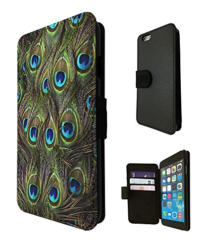 002517 - Peacock Feathers Fun Design iphone 5 5S / iphone SE 2016 Fashion Trend TPU Leder Brieftasche Hülle Flip Cover Book Wallet Credit Card Kartenhalter Case