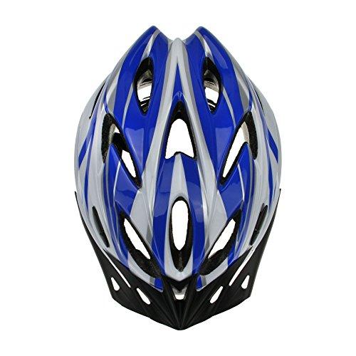 Casque de Vélo/VTT Casque Cyclisme Route Solide Casque Sport avec Visière Helmet Sécurité Protection la Tête pour Adultes Hommes Femmes 54-61CM-Bleu&Blanc