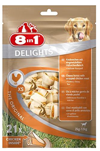 8in1 Delights Chicken Kauknochen, Größe XS, gesunder Kausnack für sehr kleinere Hunde von 2 bis 12 kg 21 Stück (1 x 252 g)
