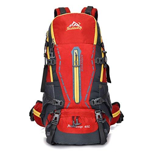 Bergsteigen Tasche Mit Sport Stents Im Freien Rucksack 45L Mit Regt Abdeckung Red