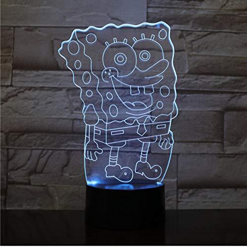 SpongeBob Schwammkopf Tischlampe Schlafzimmer 3D Halluzination Raumdekoration Lampe Kind Kind Baby Nachtlicht Cartoon Nachtlicht LED