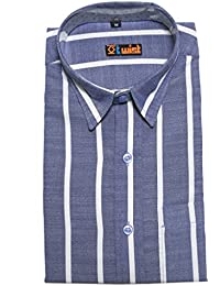 Twist Men's Regular Fit Formal Shirt/Long Sleeve Cotton Shirts/Full Sleeve Shirts/Stripes Dress Shirts, Blue