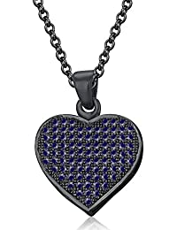 Silvernshine LADIES 10K Black GOLD FN BLUE SAPPHIRE SIM DIAMOND LOVE HEART SHAPE PENDANT NECKLACE