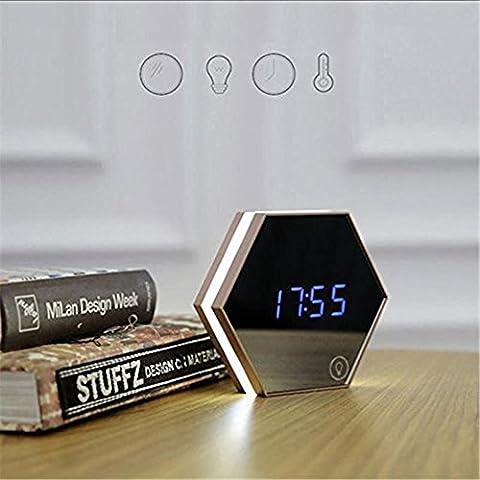 rechargeable Digital Alarm Clock, lumière de nuit avec fonction multi Digital Miroir Alimenté LED Lampe de table Réveil de voyage Champagne