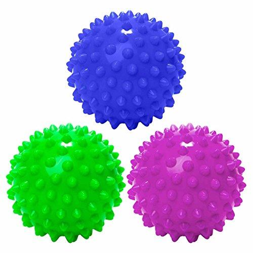 3 Stück Massagebälle / Noppenball - sehr harte Oberfläche d.h. ideal für Reflexzonen-Massage geeignet. Der Gummiball / Ball dient der Tiefen,assage z.B. für Hals, Rücken & Füße. Aufgrund der Igel-Oberflächenstruktur sehr hoher Wirkungsgrad beim Faszientraining - Muskelschmerzen / Verspannung