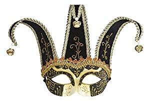 WIDMANN 1651?Máscara Jolly, color negro, diseño con purpurina, dorado, talla única