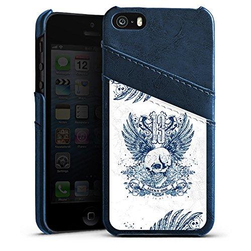Apple iPhone 4 Housse Étui Silicone Coque Protection Tête de mort Tatouage Ailes Étui en cuir bleu marine