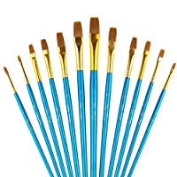A+Selected Flat Paint Brushes, 12 Pieces Flat Artist Brushes Set for Watercolor Oil Acrylic Crafts Rock & Face Painting (Blue)