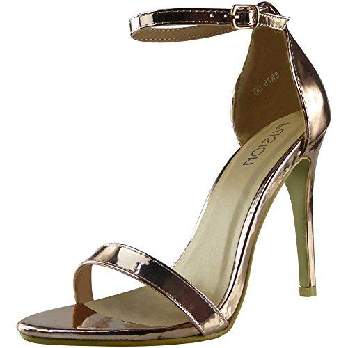 Da donna Cinturino alla caviglia alto Stiletto Tacco Sandali Scarpe Dimensione 36-41 Oro