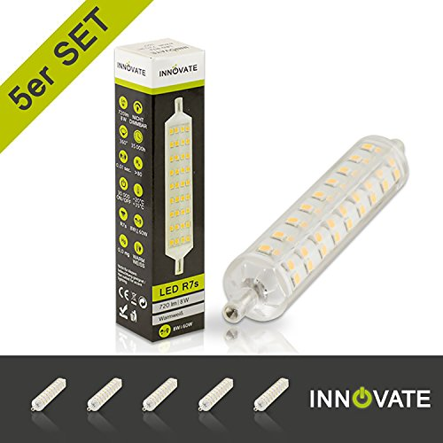 [ 5er Pack / Set ] INNOVATE R7S LED Leuchtmittel Stablampe Strahler 118mm / 8 Watt - Ersatz für 60W...