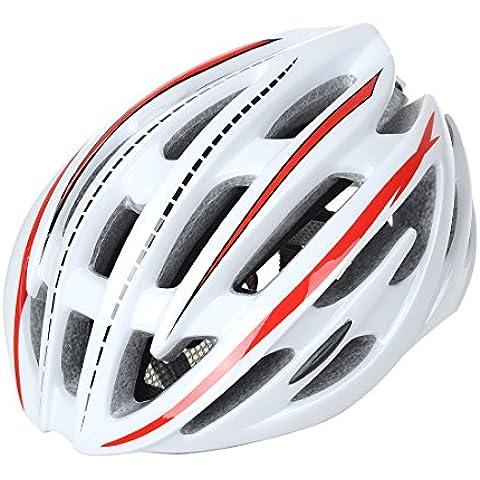 wildcycle strada mountain bike casco adulto ciclismo Caschi di sicurezza con luce LED, Uomo, bianco