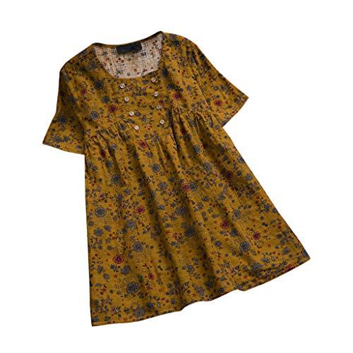 Zegeey Damen Kurzarm T-Shirt Bluse Shirt ÜBergrößE Baumwolle Und Leinen Vintage Retro Drucken Knopf LäSsige Oberteil Bluse Shirt Kurzarmshirt Lose Basic Tops (Gelb,4XL) Redhead Wrap