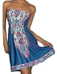 JTC Femme Robe de Plage Robe Tube Impression Eté Elastique en soie de glace -bleu