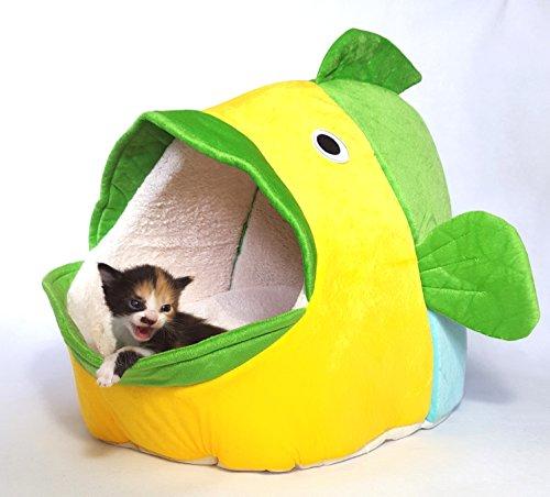 Hungucker? XL Katzenbett - Katzenhöhle - Katzeniglu für große & kleine Katzen - kuschlig weich, mit waschbaren/rausnehmbaren Kuschel - Kissen - wunderschönes Wohnaccessoires