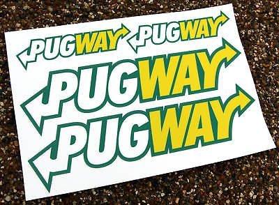 'PUGWAY' 4 autocollants Peugeot GTi 106 306 206 207 Rallye