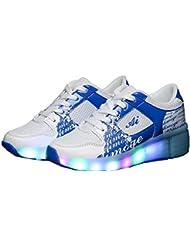 Teckey 2016 Zapatillas con ruedas led 7 colores deportivas para niños (talla :27-34)