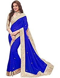Shriji Creations Women's Georgette Saree With Blouse Piece (Blue Patta008_Blue)