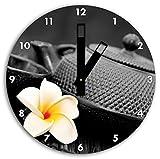 orientalische Teekanne mit kleiner Jasminblüte schwarz/weiß , Wanduhr Durchmesser 30cm mit schwarzen eckigen Zeigern und Ziffernblatt, Dekoartikel, Designuhr, Aluverbund sehr schön für Wohnzimmer, Kinderzimmer, Arbeitszimmer