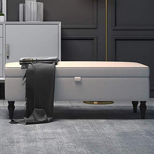 Otomana Sofá heces Foyer Hollway Zapatos banco tapizado for Almacenaje tela de lino...