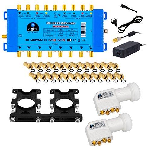 2x Quattro LNB + Multischalter pmse 9/8 HB-DIGITAL 9x SAT bis 8 x Teilnehmer / Receiver für Full HDTV 3D 4K UHD mit Netzteil + 30 Vergoldete F-Stecker Gratis dazu