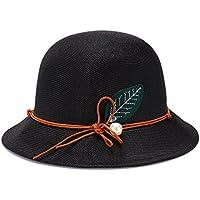 lkklily-elegant Ladies lino fashion sombrero sombreros Cap Hat sombrero de sol Sol Mujer Color Sólido, M(56-58cm), negro