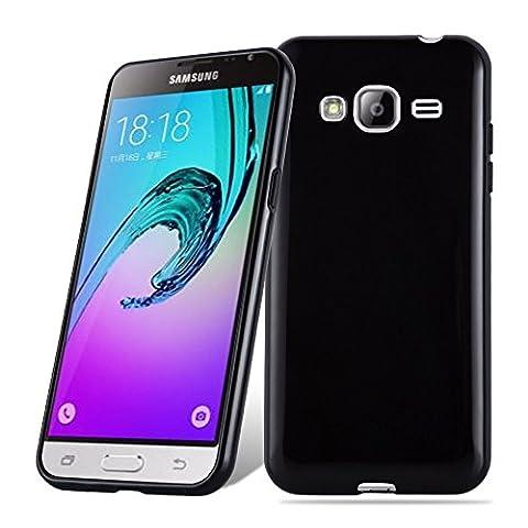 Cadorabo – Ultra Slim TPU Etui pour > Samsung Galaxy J3 DUOS (6) - Modèle 2016 < Housse Gel (silicone) en Design 'AIR' – Coque Case Cover Bumper en NOIR