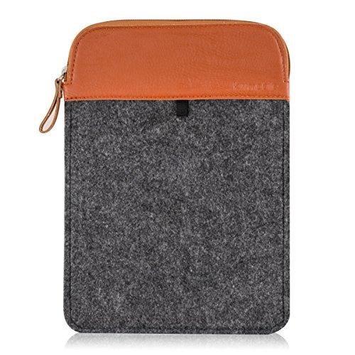 """Preisvergleich Produktbild kwmobile Tablettasche Filz Sleeve für 9, 7-10, 1"""" Tablet - Tablet Schutzhülle Tasche Case Hülle in Grau Braun Innenmaße: ca. 27 x 19, 5 cm"""