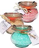 Wellness Badesalz Set im Glas, Rose mit Rosenblüten, Deep Pacific und Pfirsich, Badezusatz Totes Meer Salz im Weck Schmuckglas 3 x 250 g