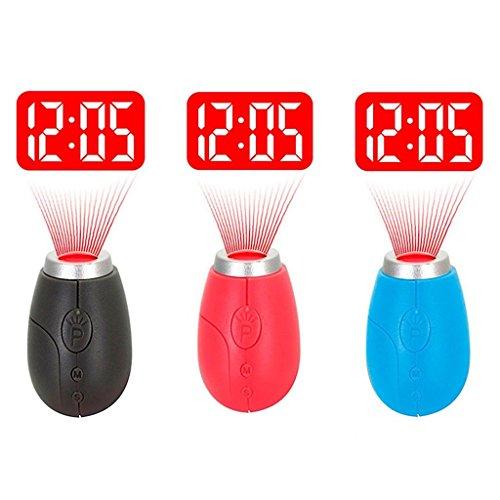 hinmay 3St. Tragbarer Mini Projektion Uhr für LED Wand oder Decke Projektion, Schlafzimmer, Reisen, Camping, mit Schlüsselanhänger