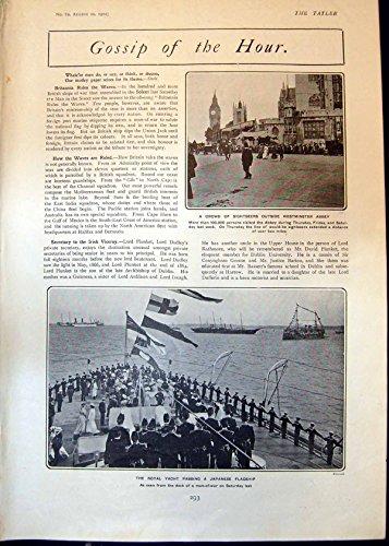Antiker Druck Schaulustig-Westminster- AbbeyKöniglichen Yacht-Herrn Kruger Caricature 1902