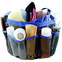 Malla Ducha Tote zmoon con 8compartimentos de almacenamiento Fashion rápido seco resistente al moho inoxidable resistente, ligero, elegante para colgar Toiletry organizador de baño y ducha Tote Bag, azul