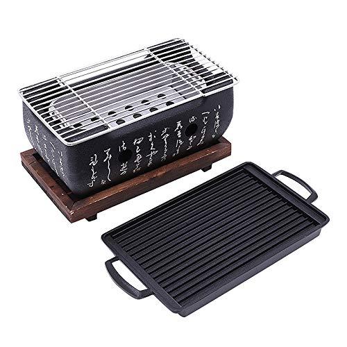 TOOGOO 2-4 Personen Japanischer Barbecue Grill Tragbarer Grill Ofen Japanischer Lebensmittel Holz Kohle Ofen Mit Antihaft Back Blech - Hibachi Grill