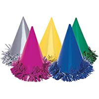 Unique Party 9048 - Fringed Foil Party Hats, Assorted Pack of 6