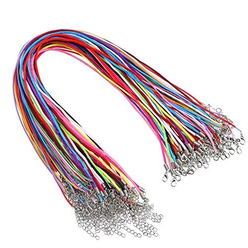 30 Stück Satin Seide Halsketten Schnur und 30 Stück Lederband mit Verlängerungskette und Hummerverschluss, 18 Zoll, 10 Farben (2 Zoll Lila Halsband)