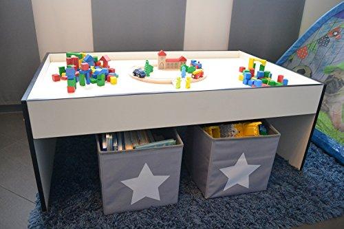 Spieltisch aus Holz, weiß ca.116x72x45cm (weiß mit schwarzer Kante)