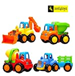 Happy engineering team series. A bulldozer with a digging arm, a dump truck, a farmer tractor and a concrete mixer truck. Lovely cartoon drivers. Each truck with different interesting functions for playing. Sturdy construction. Bright colors. Vivid d...