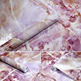 APSOONSELL Granit Marmor Effekt Tapete Selbstklebende Peel Stick Rolling Sticker Wand Aufkleber für Küche Badezimmer Tisch Hintergrund Dekoration,Rose(15.7