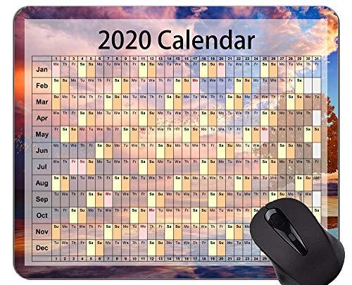 Tappetino per Mouse da Gioco Calendario 2020 Anni Personalizzato, Tappetino per Mouse a Tema Foglie d'Autunno