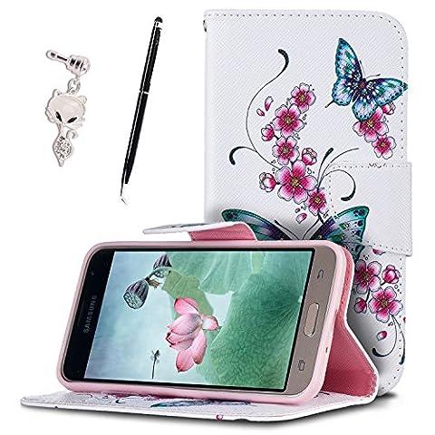 Etui Samsung J3 (2016) , Anfire Fleur et Papillon Motif