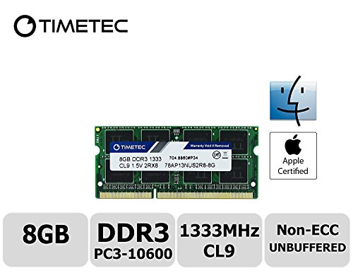 Timetec Hynix IC Apple 8GB DDR3 1333MHz PC3-10600 SODIMM Memory Upgrade For MacBook Pro 13-inch /15-inch /17-inch Early/Late 2011, iMac 21.5-inch Mid/Late 2011,27-inch Mid 2010/2011,Mac mini (Mid 2011) (8GB) (Macbook Arbeitsspeicher-upgrade Apple)