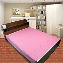 Thefancymart Pink Plain Double Bed Mat Sheet (non slippery wrinkle free)- Double bed waterproof matress cover/protector