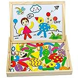 TONZE Puzzles Rompecabezas Magnéticos de Madera Juguete de Pizarra Magnética Doble Cara Tablero de Dibujo Juguetes Regalo Navidad Educativos Juego Puzzles Infantil Niños 3 4 5 Años