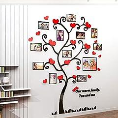 Idea Regalo - Alicemall Adesivi Murali Adesivo da Parete Wall Sticker in Acrilico Rimovibile a Forma di Albero con Rami Incurvati e Cornici Porta Foto (Stile 4 Rosso)