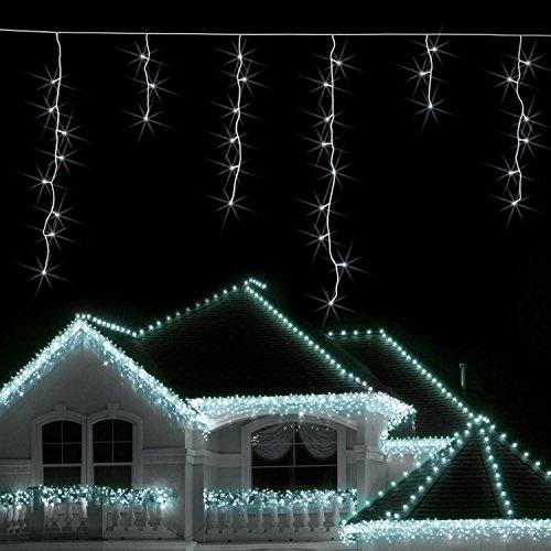 Blumfeldt Dreamhouse luci illuminazione natalizia (catena luminosa da 8 metri, 160 LED, cavo da 6 metri, effetto snow motion, IP44, per interni ed esterni) - bianco freddo