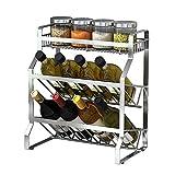 Küchenwagen HWF 3 Tier Arbeitsplatte für Küche Gewürzregal Gewürzhalter Arbeitsplatte Edelstahl Arbeitsplatte Regal (Größe : S)