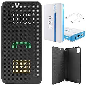 DMG Dot View Interactive Flip Cover Case for HTC Desire 826 (Black) + DMG 15000 mAh Portable Power Bank