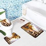 2 SSHXWL Antideslizante Fácil de Limpiar Resistente al Calor Antifouling Lindo tapete de algodón Impreso Occidental E