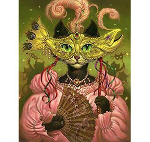 Lkrou Diamant Stickerei Halloween Maske Katze Diamant malerei kreuzstich DIY 5d Diamant mosaik Bild Strass manuelle Produktion 40x50 cm (Speichern Halloween Masken Von)