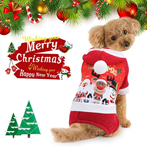 Idepet Christmas Dog Custome Cat Clothes Winter Puppy Hoodie Warm Coat Jacket for Small Medium Large Dog Cat Kitty Chihuahua Yorkshire XS S M L XL XXL (M)
